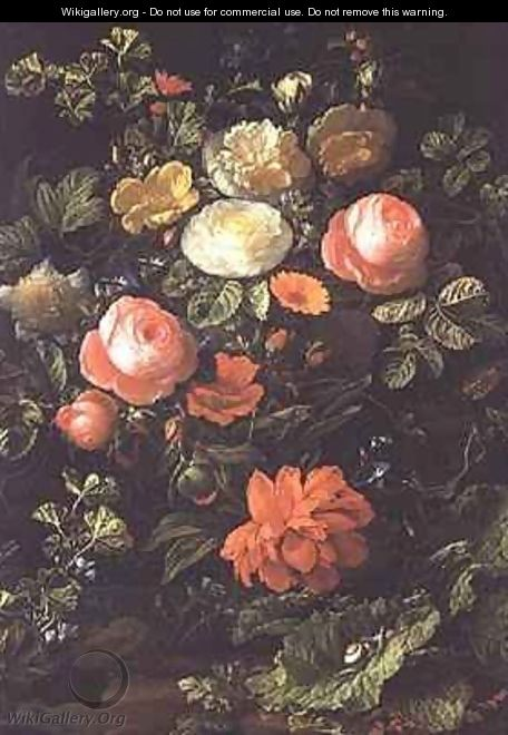 Still Life with Roses, Insects and Snails - Elias van den Broeck
