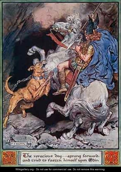 The voracious dog...sprang forward and tried to fasten himself upon Odin - Charles Edmund Brock