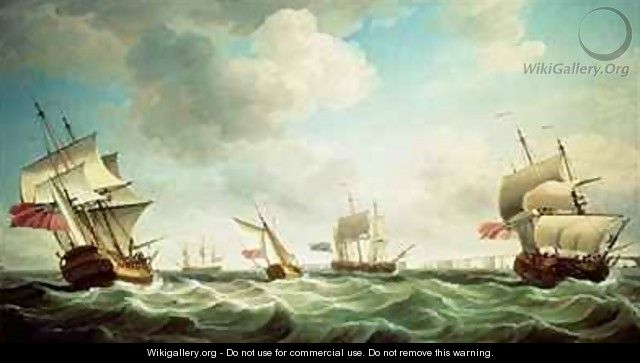 East Indiamen and a smack-rigged Royal Yacht in a breeze off the Downs - Charles Brooking