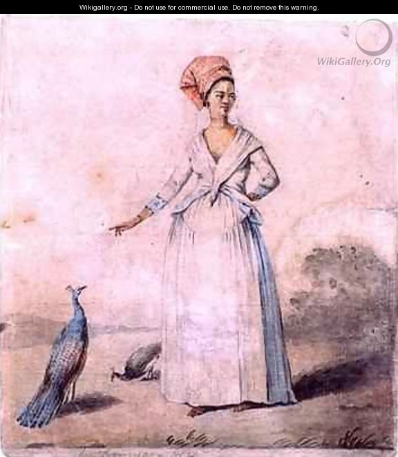 Lady with peacock - Agostino Brunias