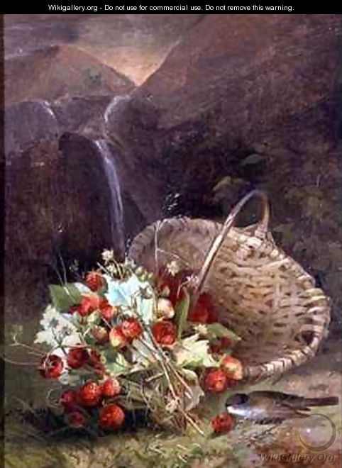 Bunch of Wild Strawberries by a Basket - A. de Brus