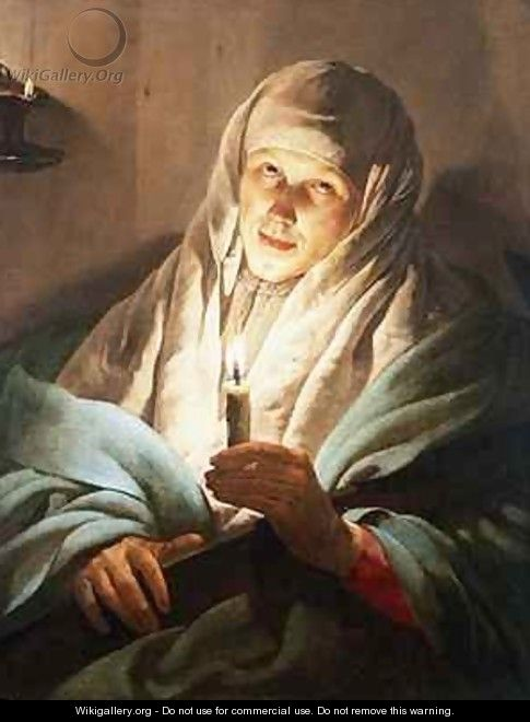 A Woman with a Candle and Cross - Hendrick Ter Brugghen