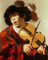 Boy Playing Stringed Instrument and Singing - Hendrick Ter Brugghen