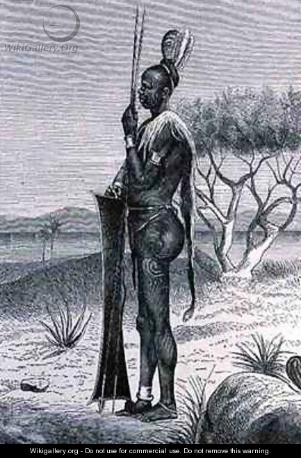 A tattooed Shuli negro with his weapons - (after) Buchta, Richard