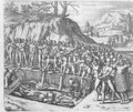 Method of burial of Peruvian kings and nobility from Girolamo Benzoni's account of the conquest of Peru - (after) Bry, Theodore de
