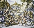 Conquistadors enslaving and beating native American baggage carriers - (after) Bry, Theodore de