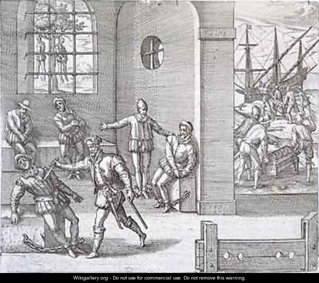 Spanish traitors in Panama executed while gold stolen from the Incas is loaded onto ships bound for Spain - (after) Bry, Theodore de