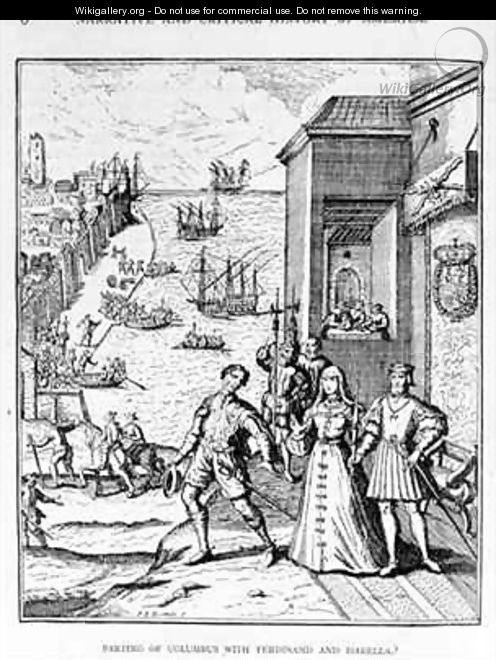 Parting of Columbus with Ferdinand and Isabella - (after) Bry, Theodore de