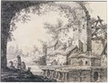 Houses On A Riverbank With A View Through A Ruined Viaduct - Jean-Baptiste Pillement