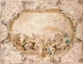 A Section Of A Design For A Ceiling Decoration - Venetian School