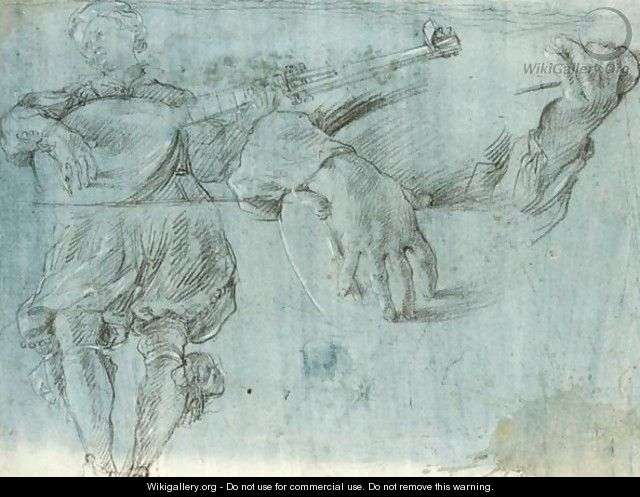 Studies Of A Minstrel Playing A Theorbo - Bolognese School