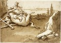 A Centaur And A Female Faun In A Landscape - Giovanni Domenico Tiepolo