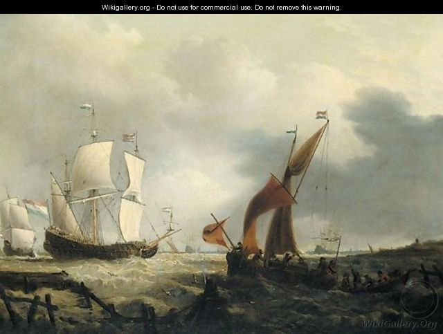A Dutch Warship And Fishing Boats In A String Wind Off The Dutch Coast - Dutch School