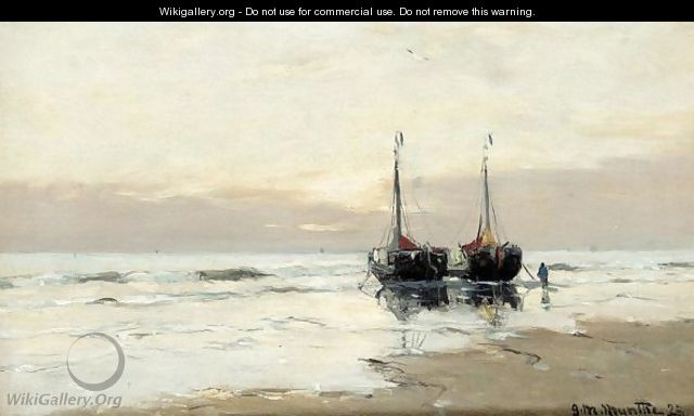 Boats moored on the beach - Gerhard Arij Ludwig Morgenstje Munthe