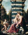 The madonna and child with the infant Saint John The Baptist in a landscape - North-Italian School