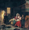 A domestic interior wit a mother nursing her children befire a fireplace - Pieter De Hooch