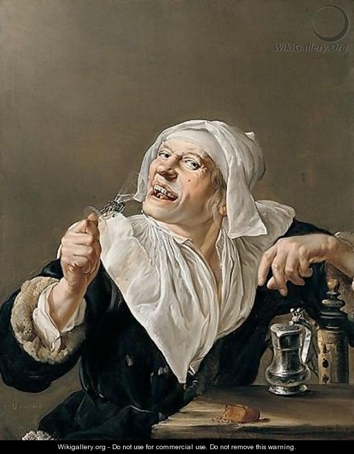An old woman drinking from a wine glass petrus for Painting while drinking wine