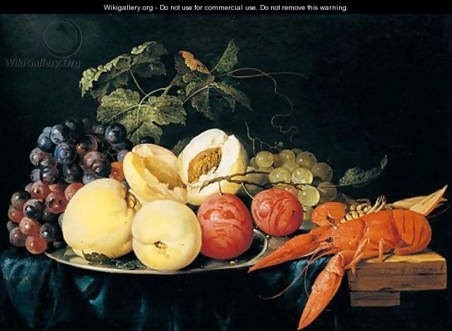 Still life of peaches, plums and black and green grapes on a silver plate - Jan Davidsz. De Heem