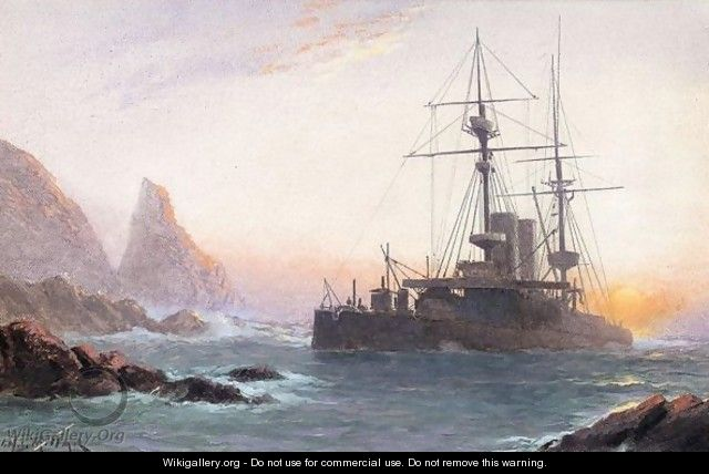 HMS Montague ashore on lundy island - James Millar
