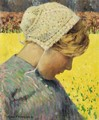 Dutch Girl Before A Daffodil Field - George Hitchcock