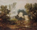 Wooded Landscape With A Driver And Cattle And A Distant Mansion - Thomas Gainsborough