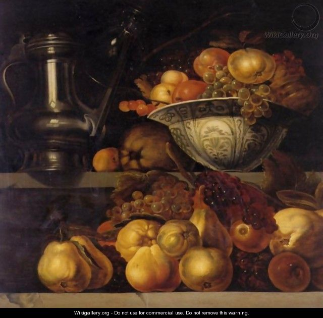 Still Life Of Fruit Resting On A Ledge, With A Wan-Li Porcelain Bowl Filled With Fruit And A Pewter Jug Resting On A Ledge Above - Jan Davidsz. De Heem
