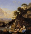 Diana And Her Nymphs Bathing In A Mountainous Landscape - Dirck van der B Lisse