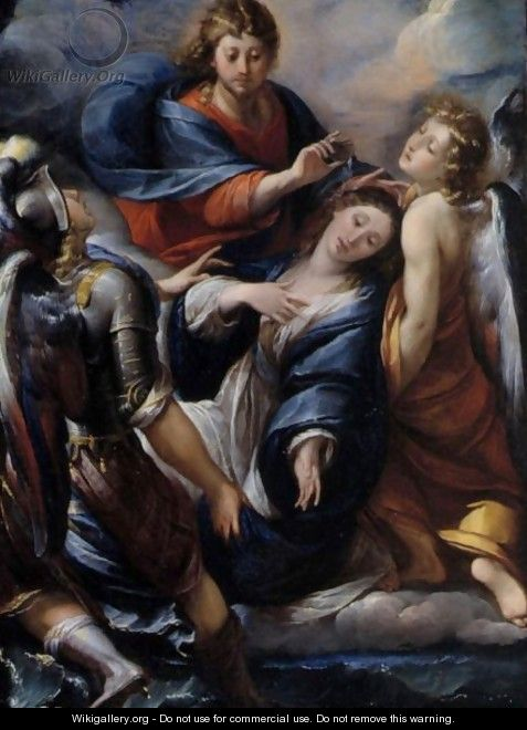 Mary Magdalene Supported By The Archangels Michael And Raphael, Christ Blessing Her Above - Giulio Cesare Procaccini