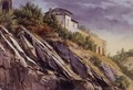 View Of A Building On Top Of A Rocky Hill - Alexandre Calame