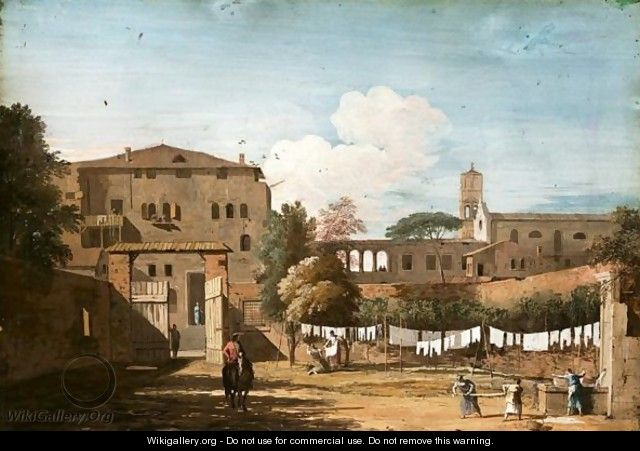View Of An Italianate Courtyard With Women Hanging Washing By A Fountain - Marco Ricci
