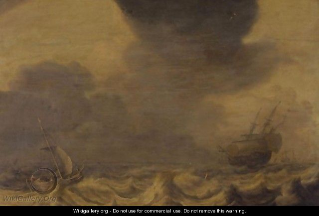 Ships Tossed In A Stormy Sea - Pieter the Younger Mulier (Tampesta, Pietro)