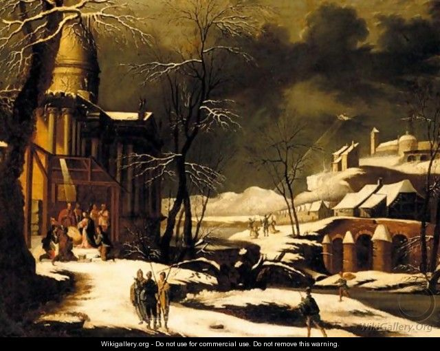 A Winter Landscape With The Nativity, The Annuciation To The Shepherds Beyond - North-Italian School