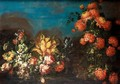 Still Life With Various Flowers In A Landscape - (after) Elisabetta Marchioni