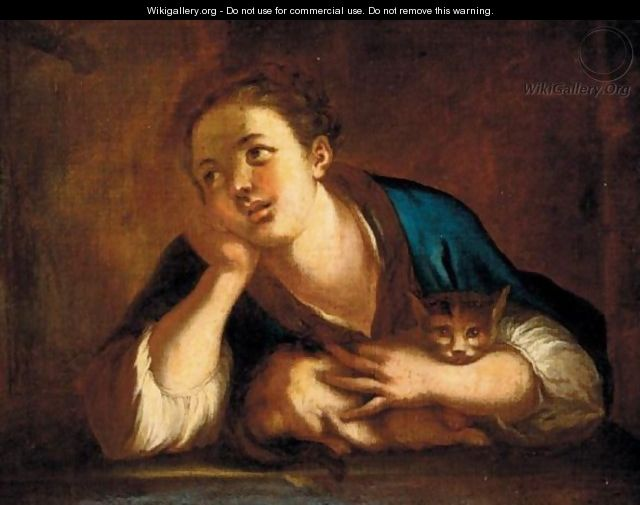 Portrait Of A Young Girl, Leaning On A Stone Ledge, With A Cat - Venetian School