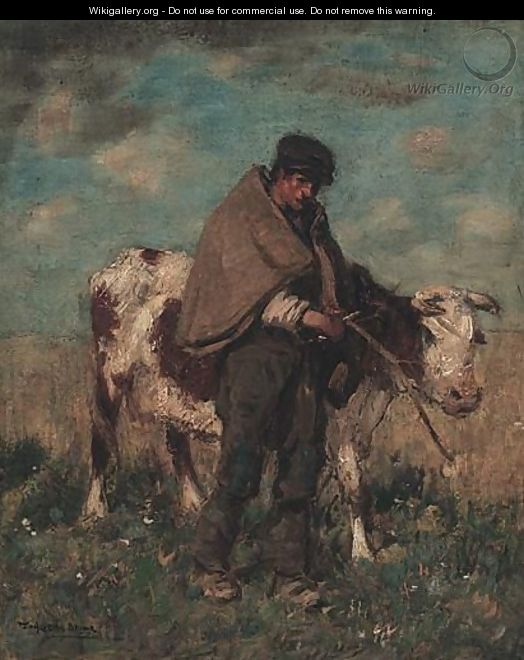 Herding The Cow - Thomas Austen Brown