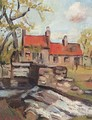 Red Roofs By A Weir - George Leslie Hunter
