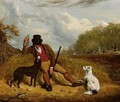 A Gamekeeper And His Two Dogs - Martin Theodore Ward