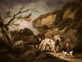 A Horse Drawn Cart Carrying Slate In A Landscape - George Morland