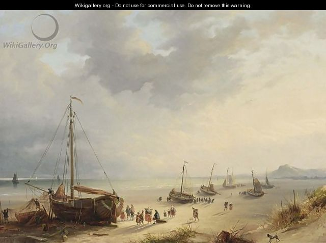 Fisherfolk Unloading The Catch On The Beach - Cornelis Lieste