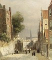 A Street Scene In Haarlem, The St Bavo Church In The Background - Johannes Frederik Hulk