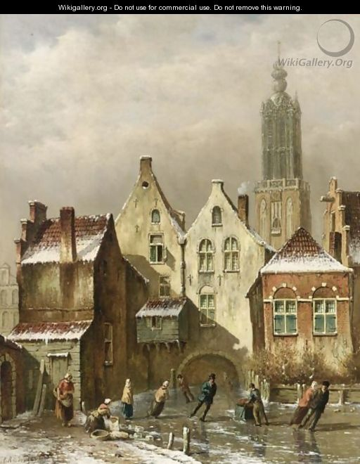 A View Of A Dutch Town With Skaters On A Frozen Canal - Oene Romkes De Jongh
