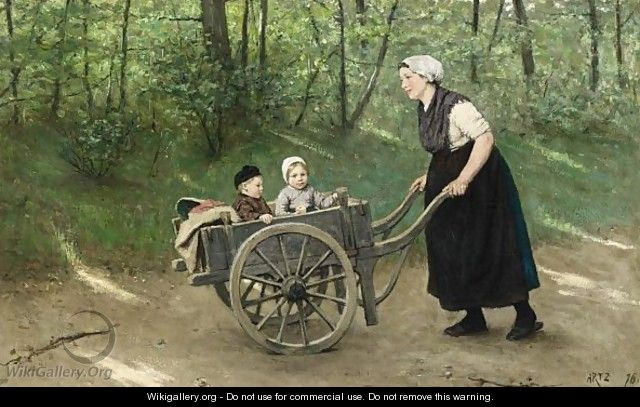 A Stroll In The Pushcart - David Adolf Constant Artz