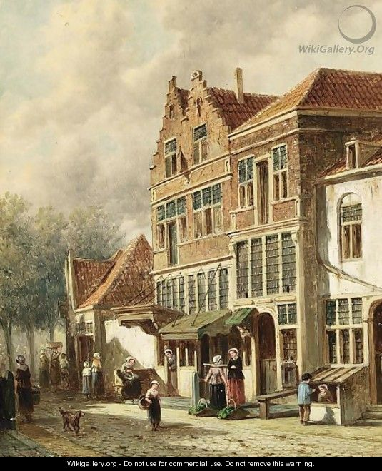 Villagers In The Streets Of A Dutch Town - Pieter Gerard Vertin