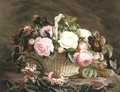 A Basket Of Pink And White And Red Roses With Honeysuckle - Johan Laurentz Jensen