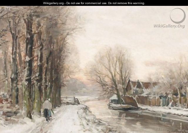 A Winter Landscape With A Figure Near A Stream - Louis Apol