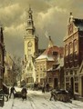 Figures In A Snowy Street, Monnickendam - Willem Koekkoek