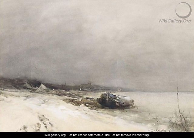 An Extensive Winter Landscape With A Boat - Louis Apol