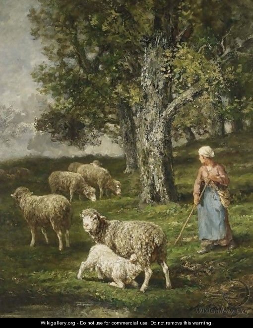 A Shepherdess With Her Flock 3 - Charles Émile Jacque