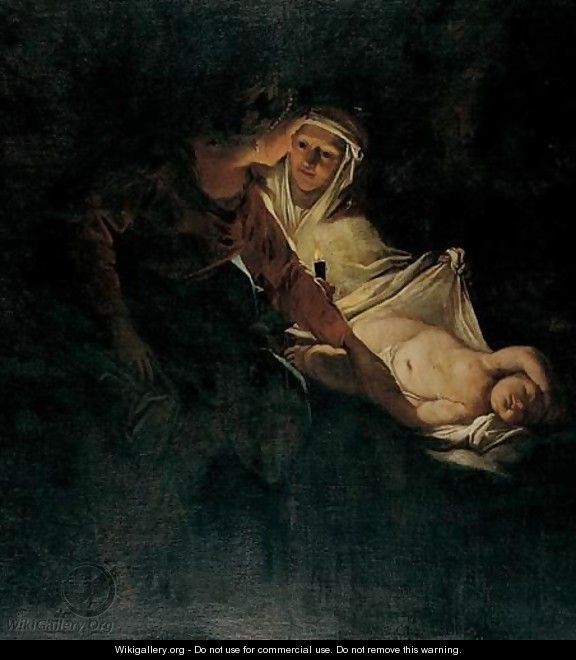 A Woman And Her Maidservant With A Sleeping Child By Candlelight - (after) Honthorst, Gerrit van