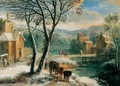 A Winter Landscape With Travellers And Waggoners Beside A River - Adriaen Frans Boudewijns
